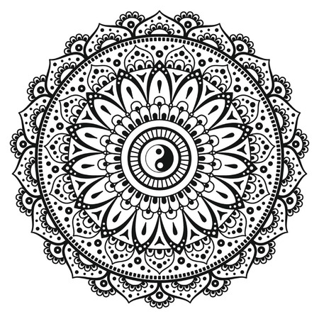Vector henna mandalas style decoration, hand drawn round decorative ornament. Symbol Yin yang in circle of mandala. Fashion motif can be used to print on the phone, tattoo, for paper, textile, clothes.