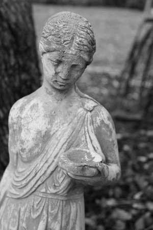 grecian: grecian woman garden statue black and white