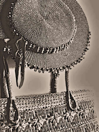 vintage straw hat and bag photo