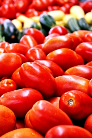 fresh tomatoes and other vegetable closeup Banco de Imagens