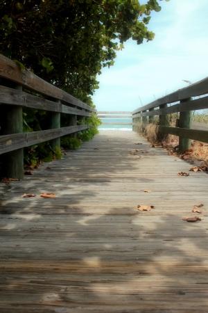 board walk to ocean soft, inviting background Banco de Imagens