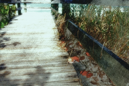 soft warm boardwalk to beach background