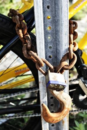 heavy chain secured bike to post