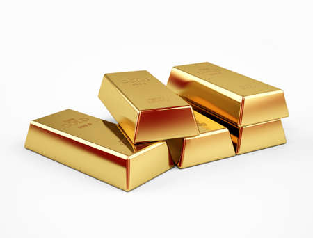 Stack of gold bars concept of success in business and finance, isolated on a white background. 3d rendering