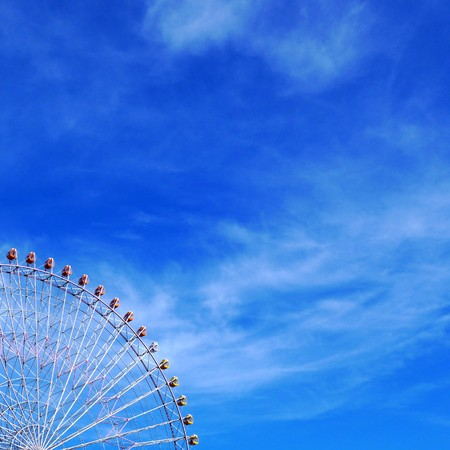 japan sky: Ferris Wheel under the blue summer sky