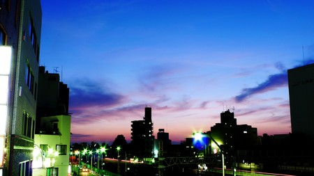 Sunset sky over a local town in Tokyo. photo