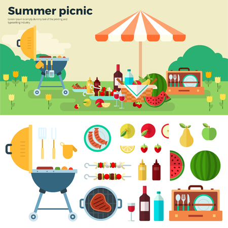 Summer picnic on meadow under umbrella. Fruit, wine, barbecue, grill, watermelon on the grass. Icons of picnic items. flat illustrations for website, mobile, banners, brochures, covers, layouts 일러스트