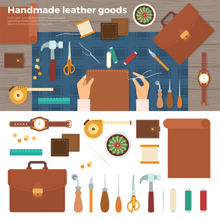 leather goods: Workplace for leather goods. Table with tools and working furrier hands mit nadel. Top view. For website construction, mobile applications, banners, corporate brochures, book covers, layouts