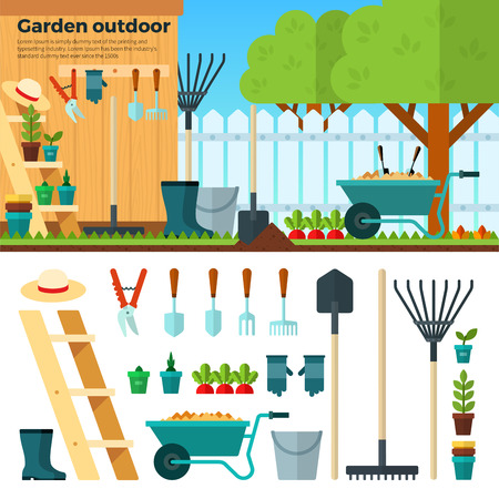 garden landscape: Concept of gardening. Tools for working in garden on white background. Banner with summer garden landscape in cartoon style. For website, mobile applications, banners, brochures, book covers, layouts