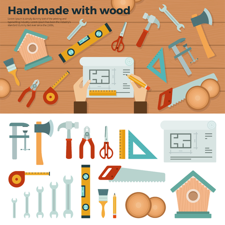 rubber gloves: Set of tools for handmade with wood, hammer, ax, saw, rubber gloves on brown and white background banners . For web site, mobile applications, banners, corporate brochures, book covers, layouts Illustration
