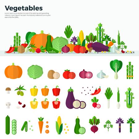 Conceito de comida saudável. Bandeira e ícones isolados dos vegetais no fundo branco no projeto liso. Cenoura, abóbora, cebola, tomate, cogumelo. Para web, aplicativos, banners, folhetos, capas