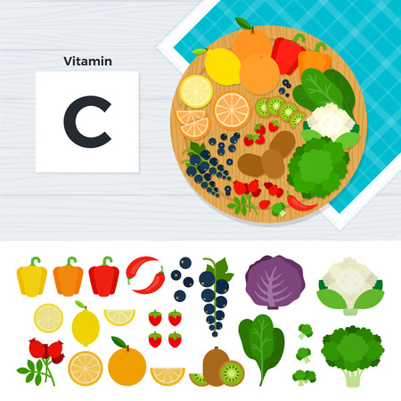 vitamin c: Vitamin C flat illustrations. Foods containing vitamin C on the table. Source of vitamin C: pepper, cabbage, lemon, orange, kiwi, grapes isolated on white background