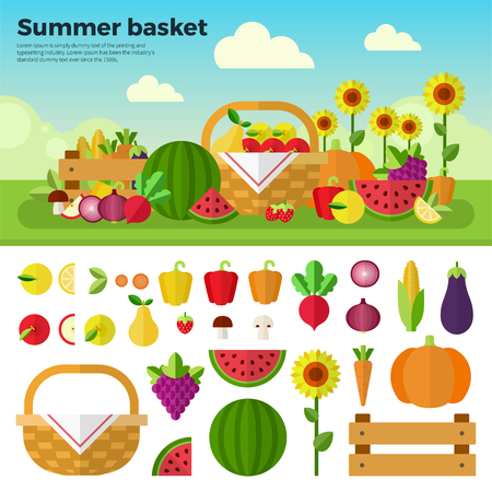 diabetes food: Summer basket flat illustrations. Basket with fresh fruits and vegetables on the summer meadow. Healthy eating concept. Fruits, vegetables, sunflower isolated on white background