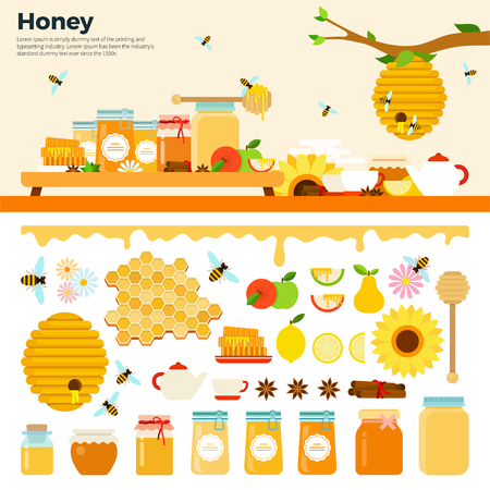 abejas: Productos de miel ilustraciones planas. Miel en tarros y otros productos de miel sobre la mesa. miel orgánica y natural. Los bancos de la miel, abejas, panales, las colmenas de abejas, girasol aislado en el fondo blanco