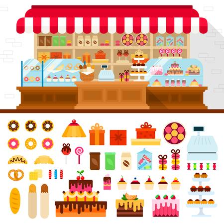 Boulangerie illustrations plats. Magasinez avec confiserie différent. Beaucoup de bonbons, gâteaux, tartes, biscuits et autres choses douces isolé sur fond blanc
