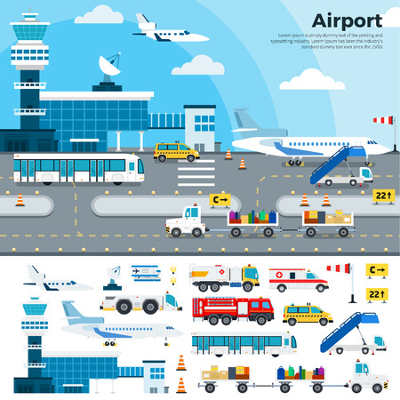 Airport flat illustrations. Modern airport exterior with different cargoes. Working day on the airfield. Airplanes, different planes, cars, buildings, tickets, luggage isolated on white background
