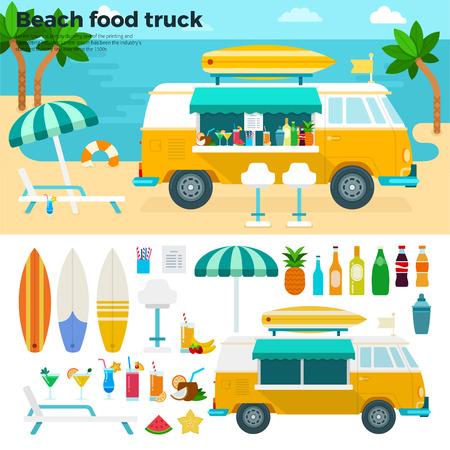 Strand Essen LKW flach Abbildungen. Van mit kalten Getränken und Früchten auf dem Sommerstrand. Heiße Sommer-Konzept. Becher, Flaschen, Obst und Strandausrüstung auf weißem Hintergrund