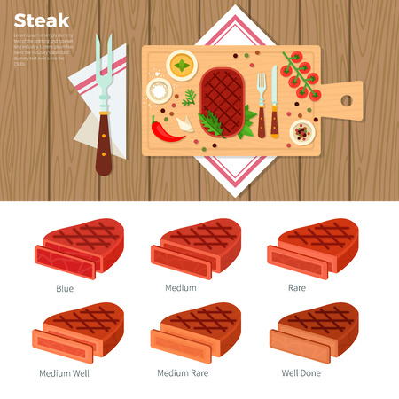 oneness: Tasty steak flat illustrations. Spicy steak served on the table with utensils. Nutrition concept. Steaks of different oneness isolated on white background