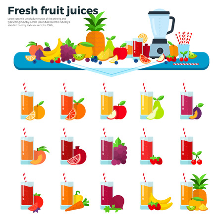 plump: Fruit juices flat illustrations. Many fresh fruits and  liquidizer on the table. Healthy lifestyle and summer concept. Orange, apple, pear, plump, peach, pomegranate, grapes, banana juices isolated on white background
