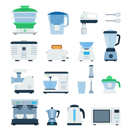percolator: Kitchen machines flat illustrations. Cooking and kitchen concept. Different types of cooking machines, devices, toaster, coffee machine, electric kettle, percolator isolated on white background