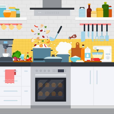 home products: Home cooking flat illustrations. Kitchen with modern cooking utensils and furniture. Boiling pot on the oven, products on the table. Cooking and eating concept Illustration