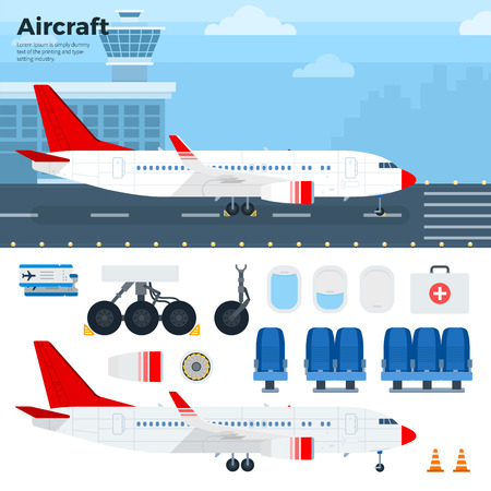 airfield: Aircraft flat illustrations. Modern airplane standing on the airfield. Emblem for airlines banners. Aircraft, seats, wheels, windows, tickets isolated on white background