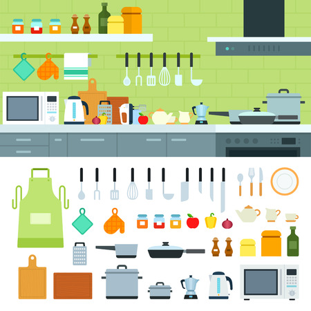 요리 도구 평면 그림입니다. 선반에 현대적인 조리기구, 제품과 주방. 홈 개념에서 요리. 흰색 배경에 고립 된 냄비, 주전자, 향신료와 인접 해 조리기구