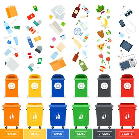 śmietniki ilustracje płaskie. Wiele śmietniki z segregowanych śmieci. Sortowanie śmieci. Ekologii i recyklingu pojęcia. kosze na śmieci na białym tle