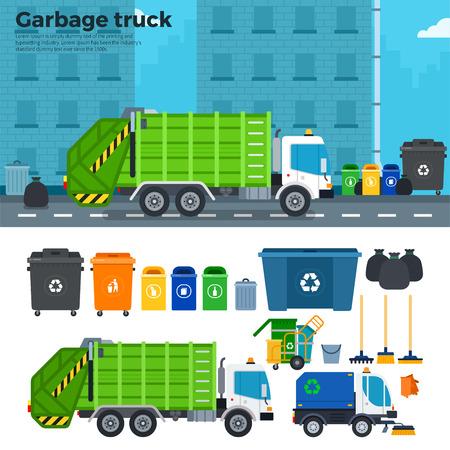 Müllwagen flach Abbildungen. Müllwagen auf der Straße. Ökologie und reduzieren Konzept. Müllwagen, Mülltonnen, Rechen, Besen isoliert auf weißem Hintergrund