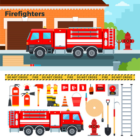 accident fire truck: Fire-engine flat illustrations. Firefighters truck standing on the street. Emergency concept. Fire-engine, hammer, tube, stairs, other fire equipment isolated on white background Illustration
