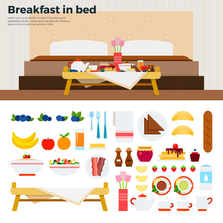 breakfast in bed: Breakfast in bed flat illustrations. Table with breakfast in the bedroom. Eating concept. Food, fruits, cakes, meat isolated on white background