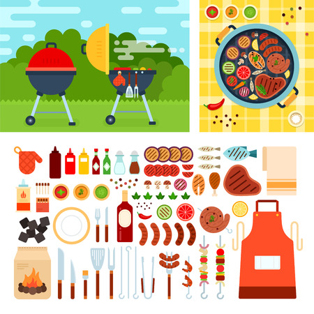 Grill set flat illustrations. Grill on the meadow on summer day. Weekend and relax concept. Meat, sausages, bottles with sauces and other grill tools isolated on white background Vettoriali