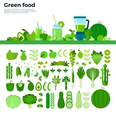 Grüne Lebensmittel flach Abbildungen. Grünes Gemüse, Obst und Mixer auf dem Tisch. Voller Vitamine gesunde Ernährung Konzept. Grüne Obst und Gemüse isoliert auf weißem Hintergrund