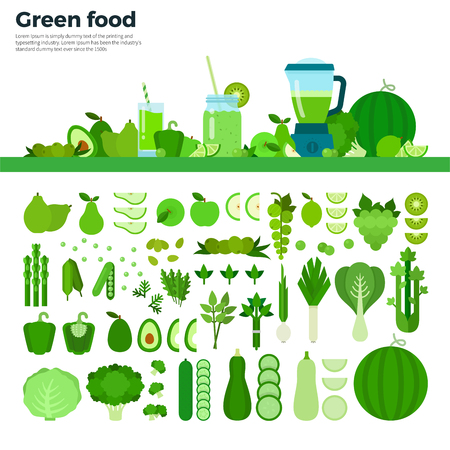 Groen voedsel flat illustraties. Groene groenten, fruit en blender op de tafel. Vol vitaminen gezond eten concept. Groene groenten en fruit geïsoleerd op een witte achtergrond