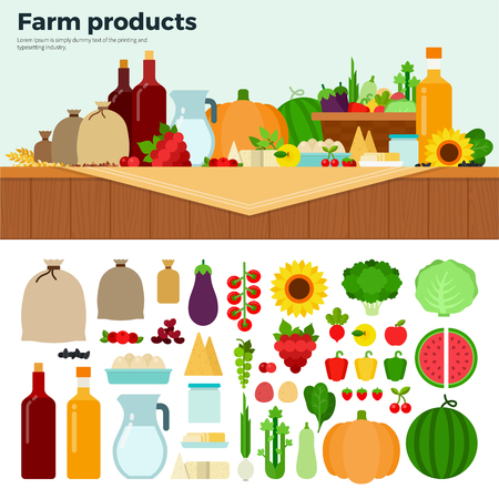 milk production: Farm products flat illustrations. Food of farm production. Healthy eating and agriculture concept. Milk, vegetables, fruits, sacks with potatoes isolated on white background Illustration