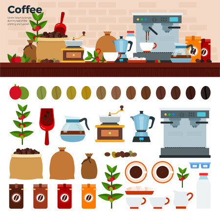 percolator: Coffee shop flat illustrations. Coffee house with coffee machine, seeds, cups and coffee stuff. Cups, seeds, pots, percolator isolated on white background