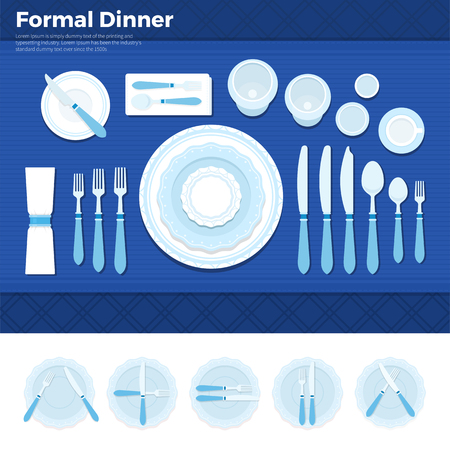 wedding table setting: Formal dinner flat illustrations. Table served with utensils for formal dinner, plate with forks, spoons and knives on blue cloth. Formal eating concept. Plates with knives isolated on white background.