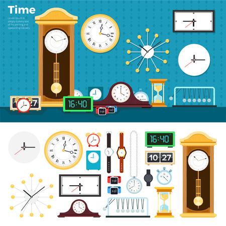 Relojes ilustraciones planas. Muchos relojes y relojes diferentes en la habitación. El tiempo pasa concepto. relojes mecánicos y eléctricos aislados en el fondo blanco