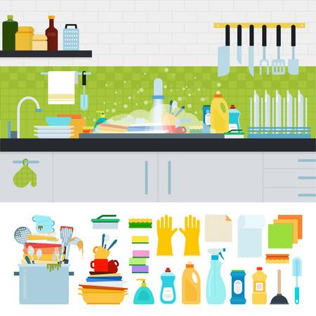 Ongewassen schotels flat illustraties. Dirty gootsteen met keukengerei, bestek, borden, afwasmiddel. Verschillende keukengerei op een witte achtergrond Vector Illustratie