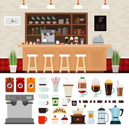 restaurant bar: Coffee shop illustration set with shop interior background design elements, Infographics of coffee