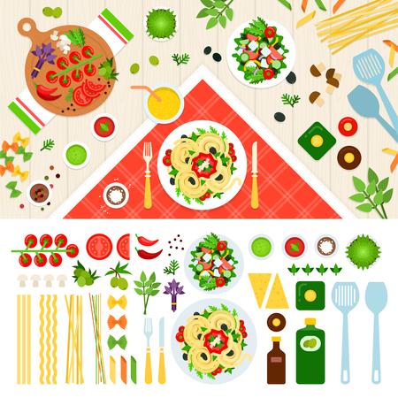 Pasta ilustraciones planas. Pasta servida en la mesa. concepto de cocina italiana. Ingredientes de las pastas, fideos, tomate, especias aisladas sobre fondo blanco