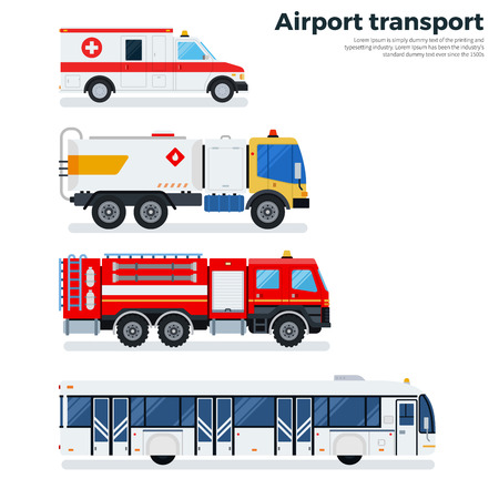 Airport transport flat illustrations. Types of transport plying on the airfield while working. Ambulance, fire engine and passenger bus isolated on white background