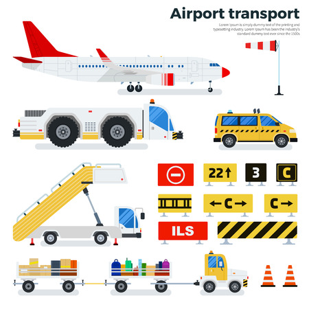 Airport transport flat illustrations. Different types of transport working on the airfield. Cargoes, luggage cars, taxi, ladder and road signs isolated on white background