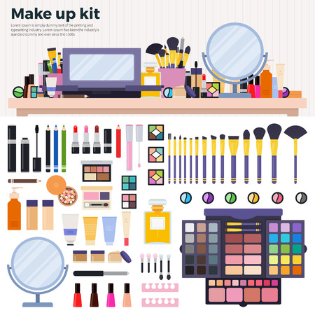 Make up kit flat illustrations. Decorative cosmetics on the table in the beauty shop. Beauty and make up concept. Lipsticks, palette of eye shadow, perfume, powder, mirror,  isolated on white background