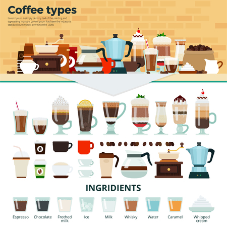 types of glasses: Coffee types flat illustrations. Many types of different coffee on the table. Energy, relax and break concept. Cups and glasses with tasty coffee, coffee machines and ingredients isolated on white background Illustration