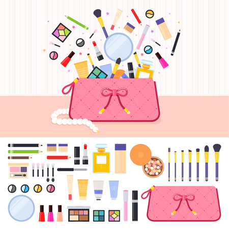 eyeshadow: Make up bag flat illustrations. Woman bag full of cosmetics. Beauty and make up concept. Lipstick, eyeshadow, parfume, powder isolated on white background