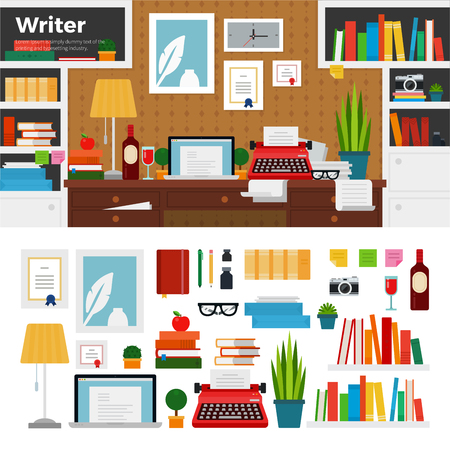 writer: Writer working place flat illustrations. Writer cabinet interior with books, papers and computer. Computer, typewriter, pens, vine, lamp isolated on white background