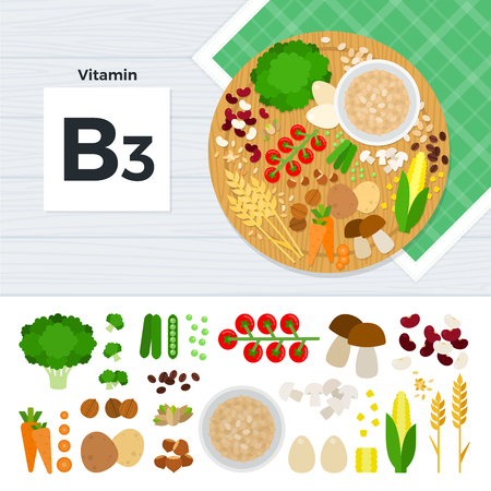 dietetical: Vitamin B3 flat illustrations. Foods containing vitamin B3 on the table. Source of vitamin B3: carrot, potato, nuts, corn, mushroom, beans isolated on white background Illustration