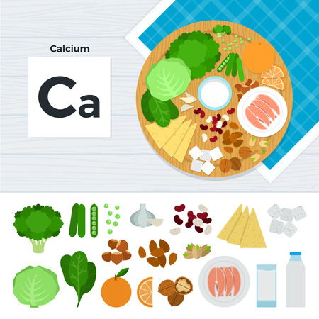 Calcium flat illustrations. Foods containing calcium on the table. Source of mineral calcium: cabbage, orange, sugar, nut, fish, milk, garlic isolated on white background Illustration