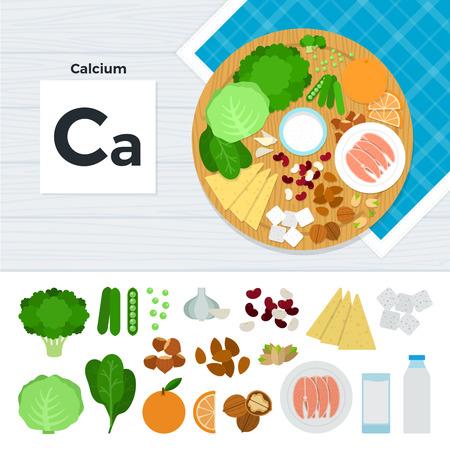 calcium: Calcium flat illustrations. Foods containing calcium on the table. Source of mineral calcium: cabbage, orange, sugar, nut, fish, milk, garlic isolated on white background Illustration